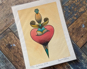 5 x 7 Watercolor Painting - Tattoo Flash Inspired // Heart & Dagger