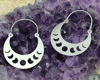 Moon Phase Small Hoop Earrings