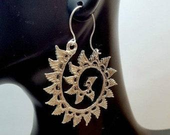 Antique Silver Wings Swirl Earrings, Boho Wing Earrings, Bohemian Swirl Earrings, Eclectic Style, Gypsy Wing Earrings