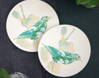 Ceramic Coaster Set   Illustrated Bird Art   Set of 2   Housewarming Gift   Hostess Gift