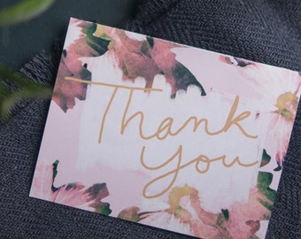 Thank You Card, Floral Print Art, Watercolor Flowers, Pink and Gold, Hand Lettered, Cursive, Blank Inside