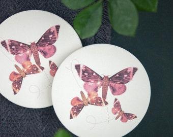 Butterfly Art Coaster Set of 2, Housewarming Gift, Hostess Gift, Home Decor, Interior Design, Ceramic, Round Coaster, Pink, Illustration