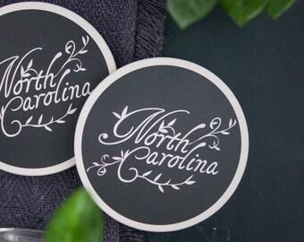 Coaster Set, Housewarming Gift, Home Decor, North Carolina, Hand Lettered, Ceramic, Cursive Font, Black and White Print