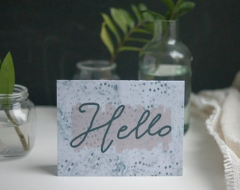 Greeting Card, Polka Dot, Friendship, Watercolor, Hello, Hi, Spots, Cursive, Hand Lettering, Cursive, Navy, Lavender, Blank Inside