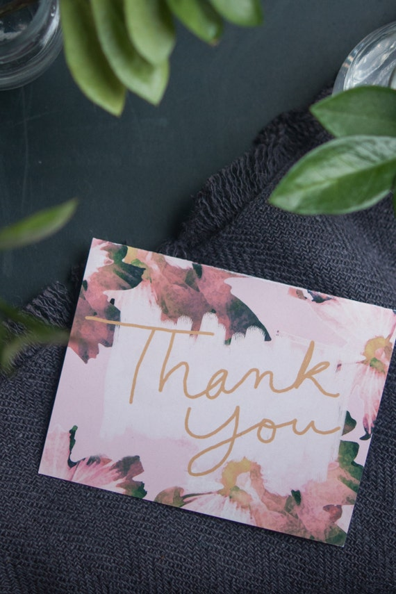 Floral Print Art Hand Lettered Watercolor Flowers Cursive Thank You Card Pink and Gold Blank Inside
