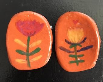 Handprinted Flower Duo- Ceramic Brooch Set