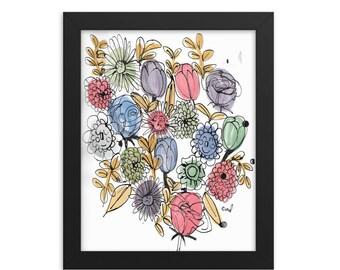 "Framed ""Happy Flowers"" Print"