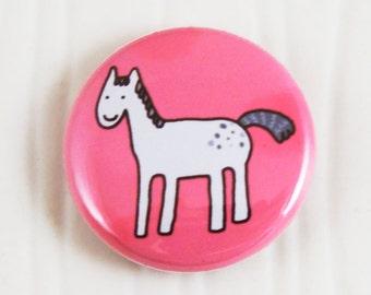 Gray Horse on Honeysuckle Button