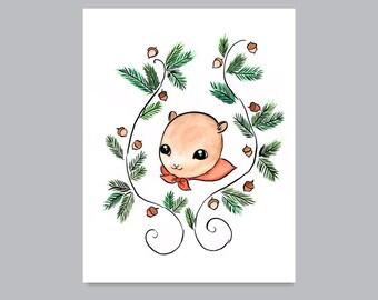 Woodland Squirrel with Acorns Print