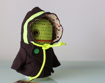 Brown and Neon Yellow Green Jacket for Timmie Tadpole or similarly sized toy plush dolls