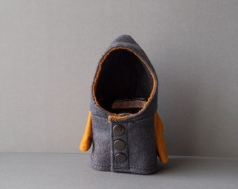 Gray and Orange Wool Coat with Metal Snaps for Timmie Tadpole or similarly sized toys, plush, doll, collectible