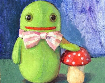 TImmie Tadpole with toadstool original oil painting - Free international shipping
