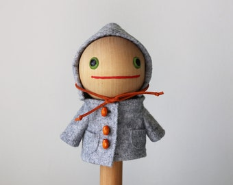 Gray Wool Coat with Wood Buttons and Faux Suede Drawstring for Timmie Tadpole or similarly sized toys, plush, doll, collectible