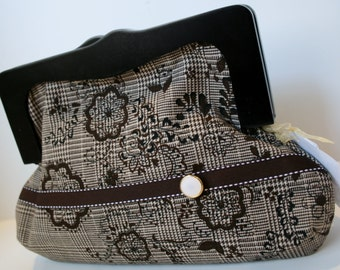 a505315455 Brown Tweed Fabric Clutch Bag