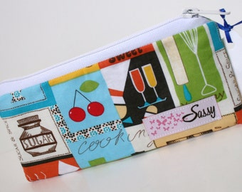 Food Themed Fabric Makeup Bag, Small Size Cosmetic Bag, Travel Make up Bag, Lined Makeup Bag