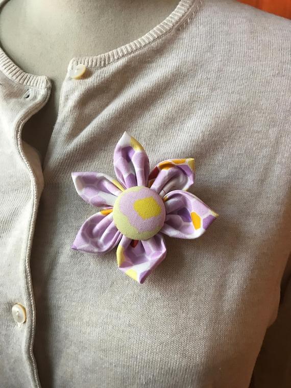 Mauve Fabric Flower Brooch Handmade Fabric Flower Flower Pin