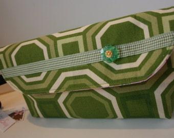 Groene geometrische schoudertasje portemonnee, schoudertasje Clutch tas, handgemaakte stof schoudertasje, iPhone schoudertasje, Catey tas