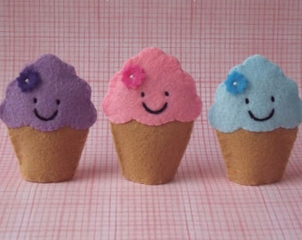 Happy Cupcakes - Cupcake Finger Puppets - Select a Color Purple Cupcake Pink Cupcake Blue Cupcake Felt Puppet