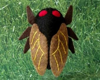 Cicada Finger Puppet - Cicada Puppet - Felt Finger Puppet Cicada Brood X Insect Finger Puppet - 2021 Cicada Brood X Insect Puppet