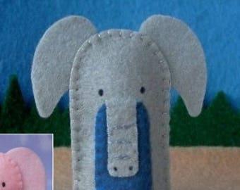 Elephant Finger Puppet - Grey or Pink - Elephant Puppet - Felt Animal Finger Puppet - Felt Puppet Elephant Pachyderm