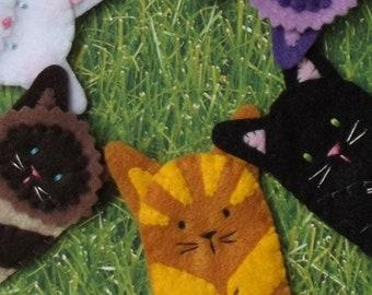 Kitty Cat Finger Puppets - Select a Cat - Golden Ginger - Black Cat - Cat Puppets - Felt Cat Finger Puppet - Felt Finger Puppet Kitty Cat