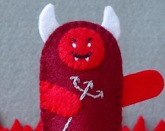 Little Devil Finger Puppet - Felt Devil Puppet