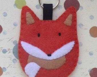 Felt Fox Keyring Orange Spice - Woodland Fox Key Ring Bag Charm - Fox Lover Key Chain