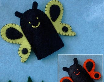 Butterfly Finger Puppet - Select Yellow or Orange - Butterfly Puppet - Insect Finger Puppet - Garden Puppet - Felt Insect Puppet - Flutterby