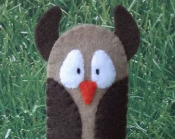 Owl Finger Puppet -Select Color and Style - Woodland Animal Puppet - Felt Bird Finger Puppet - Felt Owl Puppet