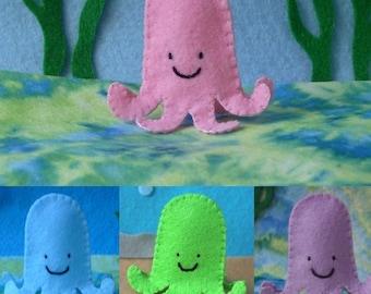 Octopus Finger Puppet - Select a Color - Pink Blue Green Purple Octopus - Felt Octopus Puppet - Felt Finger Puppet Octopus - Felt Octopus