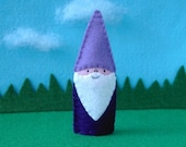 Gnome Finger Puppet with Purple Hat