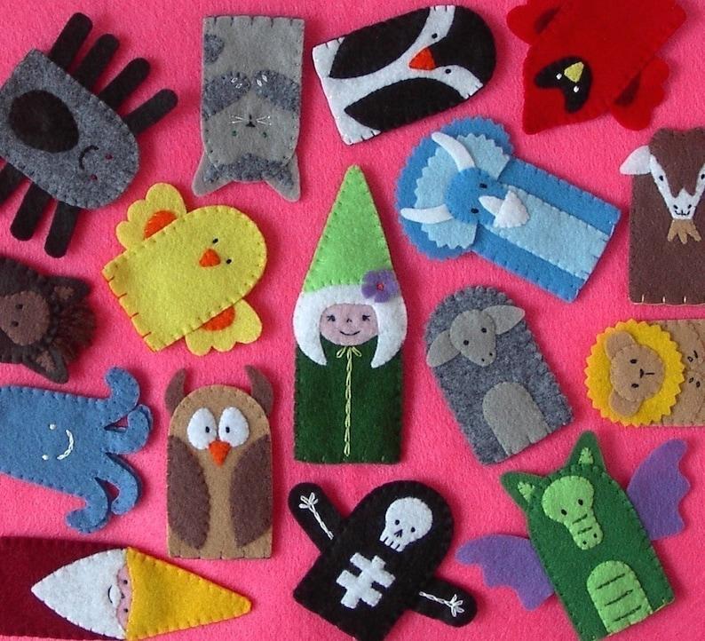 Felt Finger Puppets  Stitched to Order image 0