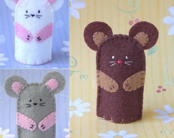 Mouse Finger Puppet - Select a Color - Brown Mouse Grey Mouse White Mouse Felt Puppet - Felt Finger Puppet Mouse Puppet