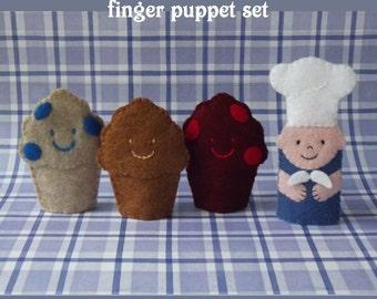 Muffin Man and 3 Muffins Finger Puppet Set - Muffin Man Nursery Rhyme Puppet Set