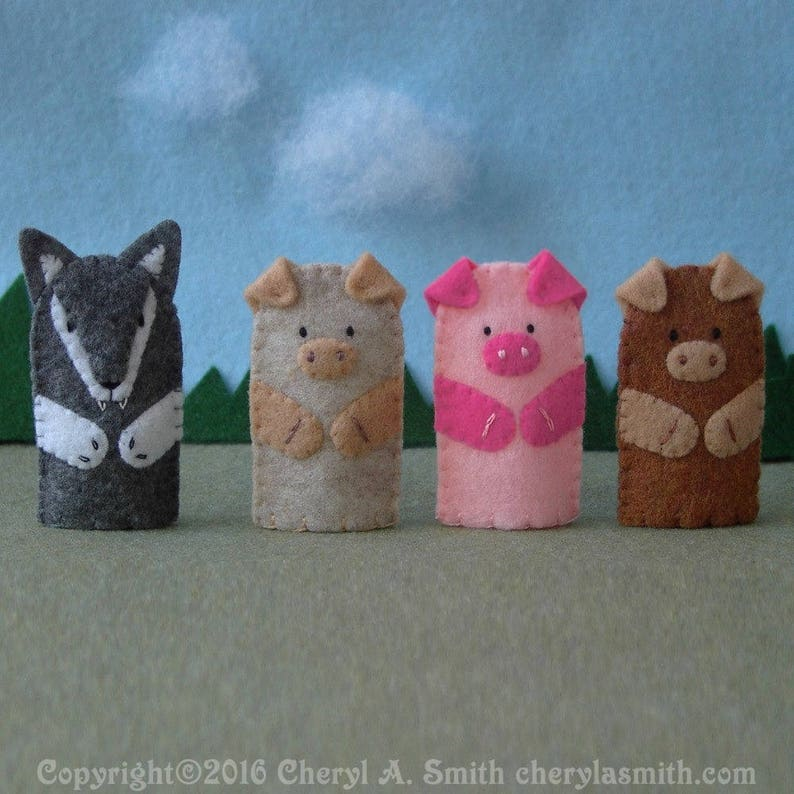 Three Little Pigs and the Big Bad Wolf Puppet Set  3 Pigs image 0