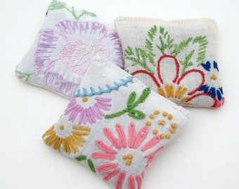 3 Dried Lavender Sachets - Embroidered Sachets - Stocking Stuffers - Vintage Linens - Embroidery - Packaging
