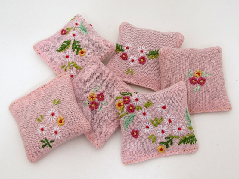 6 Pink Dried Lavender Sachets  Embroidered Sachets  Vintage image 0
