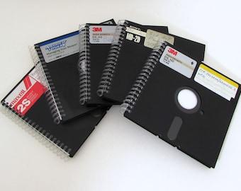 Lot of 5 1980s Floppy Disk Journals - Recycled Notebooks - Large Floppy Journal - Spiral Notebook - Party Favor - Bulk - nerd geek