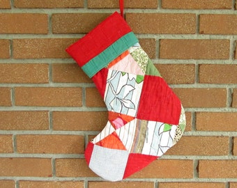 Vintage Quilt Stocking - Christmas Stocking - Patchwork Stocking - Red and Green - Vintage Cottagecore Stocking