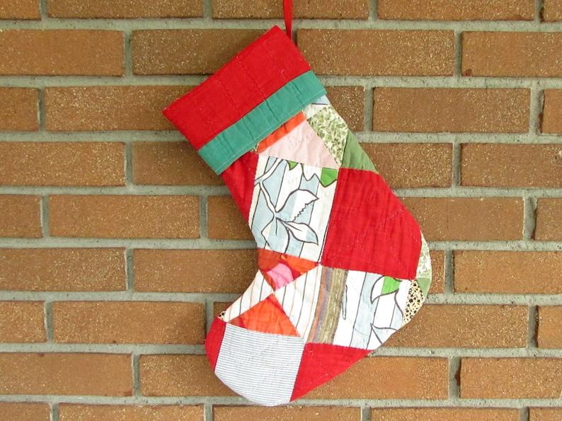 Vintage Quilt Stocking  Christmas Stocking  Patchwork image 0