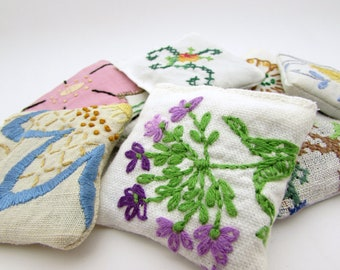 10 Dried Lavender Sachets - Embroidered Sachets - Stocking Stuffers - Vintage Linens - Packaging - Party Favors