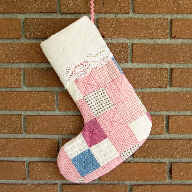 Christmas Stocking  Pink  vintage quilt  Upcycled Quilt image 0