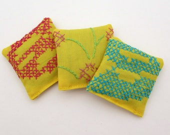 3 Yellow Dried Lavender Sachets - Floral Embroidered Sachets - Vintage Linens - Embroidery - Small Gift - Cheerful