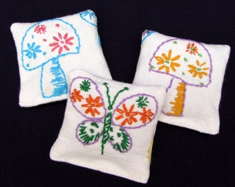 3 Lavender Sachets - Mushrooms & Butterflies - Funky Retro Embroidery - Hippie Vibes - Stocking Stuffer