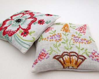 2 Large Dried Lavender Sachets - Vintage Embroidered Linens - Floral - Flowers - drawer - laundry - gift for her - stocking stuffer