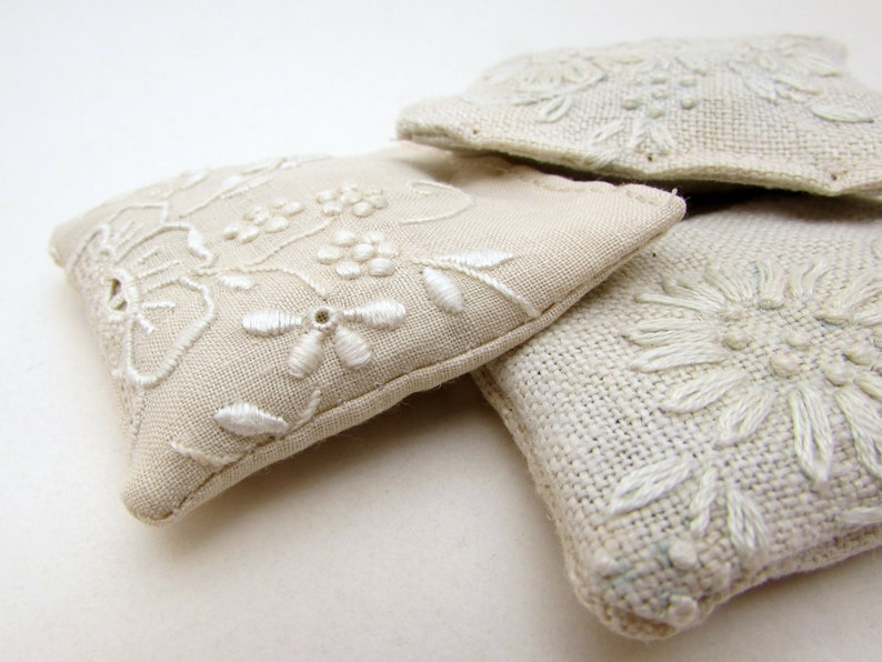 3 Dried Lavender Sachets  WHITE Embroidered Sachets  Beige image 0