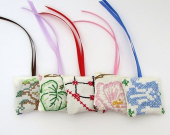 Hanging Lavender Sachets - Embroidered Sachets - Stocking Stuffers - Dried Lavender - Embroidery - Closet Sachet