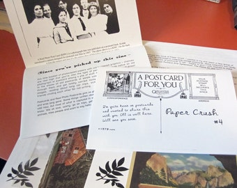Paper Crush no. 4 - A zine about collecting vintage postcards and photos - Free Vintage Postcard in every issue