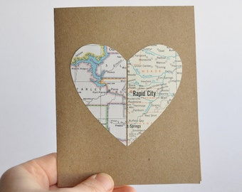 Personalized Graduation Card Long Distance Relationship Map Heart In Two Places