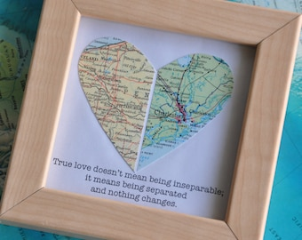 Personalized Gift For Boyfriend Long Distance Relationship Framed Map Heart With Custom Text Quote